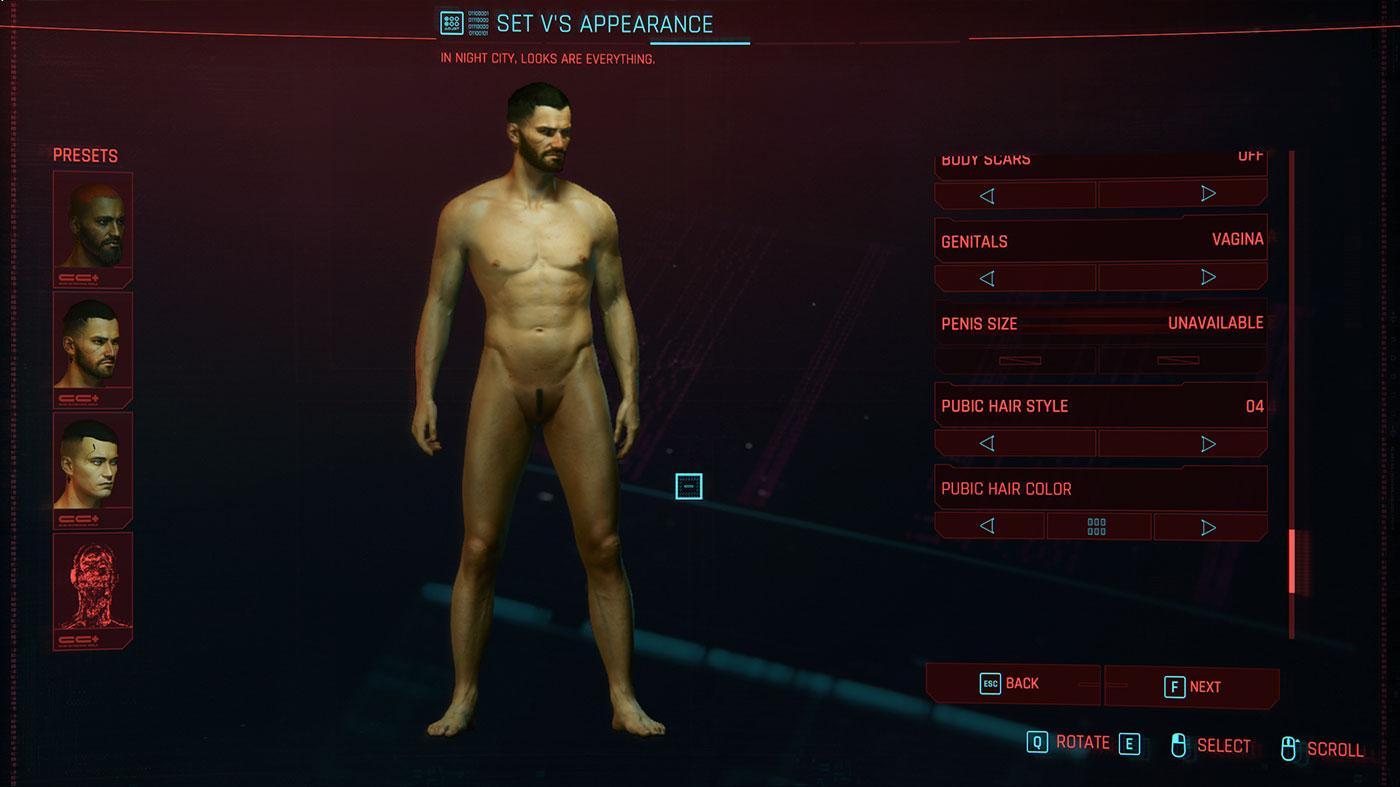 cyberpunk sexe personnalisation